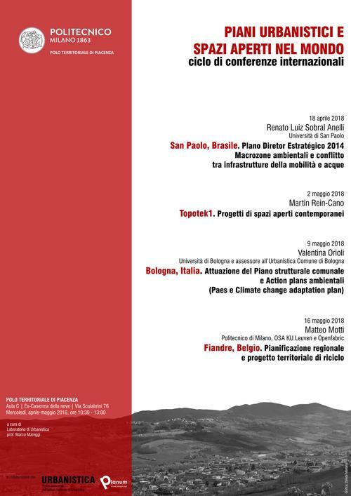 Planum News 2018.03 | Piani urbanistici e Spazi aperti nel mondo | Locandina | Ciclo di Lezioni a cura di Marco Mareggi, Politecnico di Milano, Polo Territoriale di Piacenza