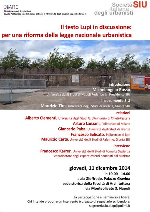 Siu societa 39 italiana degli urbanisti seminario for Studi di architettura napoli